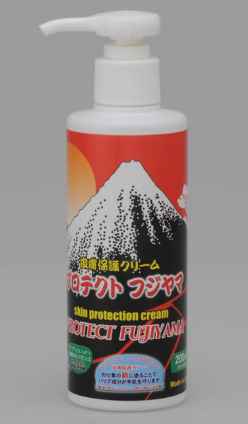 PROTECT FUJIYAMA If applied before wet work, dirty work and sports etc, a protective membrane is formed on the skin to powerfully protect it against 3 types of skin troubles!